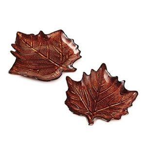NWOT Hallmark Autumn Leaf Glass Plates- Set of 2